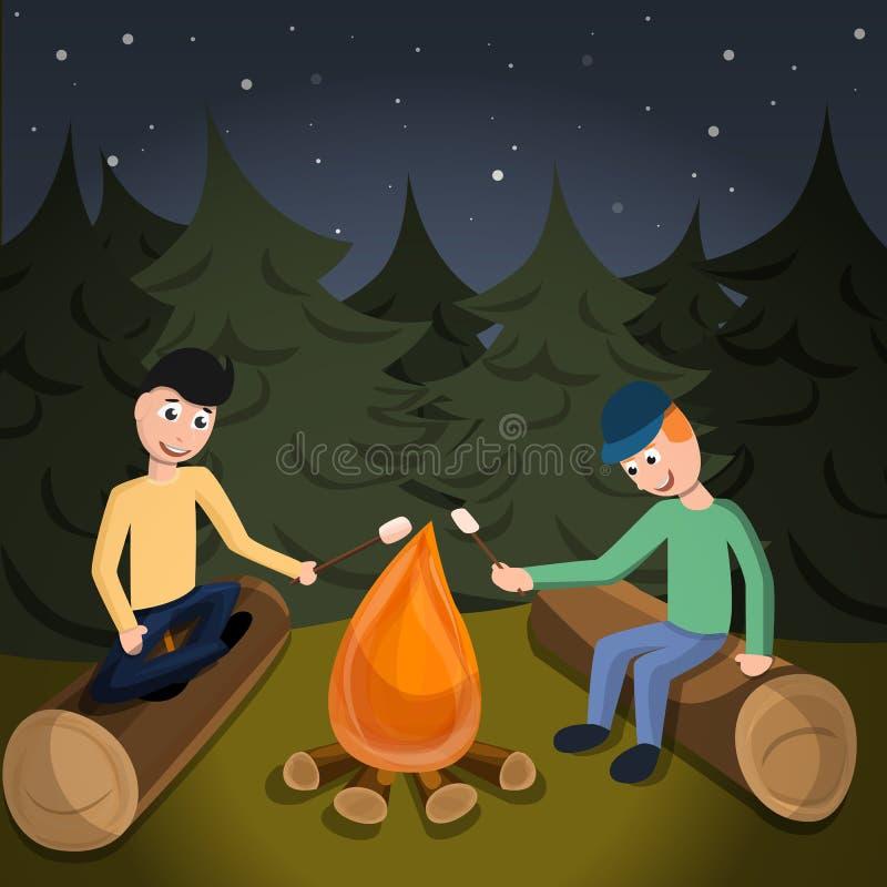 Chłopiec gotują marshmallow na pożarniczym pojęcia tle, kreskówka styl ilustracja wektor