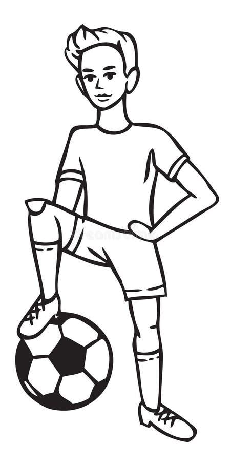 Chłopiec gracz futbolu z piłką royalty ilustracja