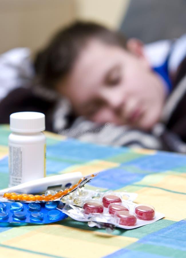 chłopiec grypa obrazy royalty free