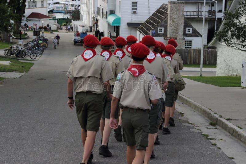 Chłopiec harcerstw wolontariuszów Mackinac wyspa zdjęcie royalty free