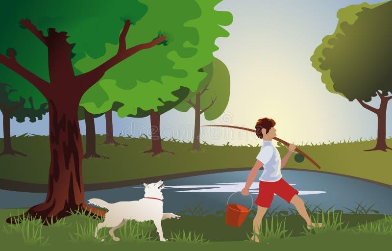 Chłopiec iść łowić z znacząco psem ilustracji