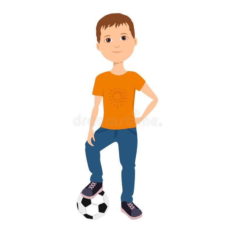 Chłopiec iść bawić się z piłki nożnej piłką royalty ilustracja