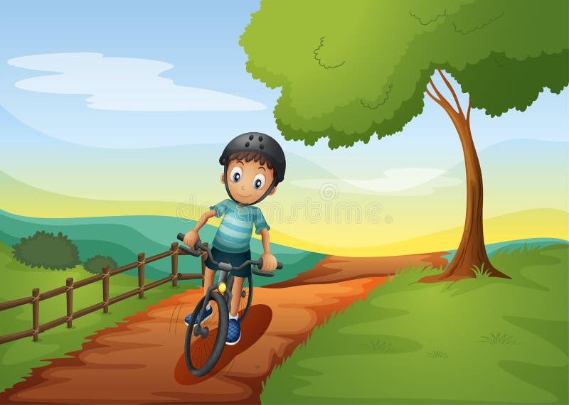 Chłopiec iść gospodarstwo rolne z jego rowerem ilustracji