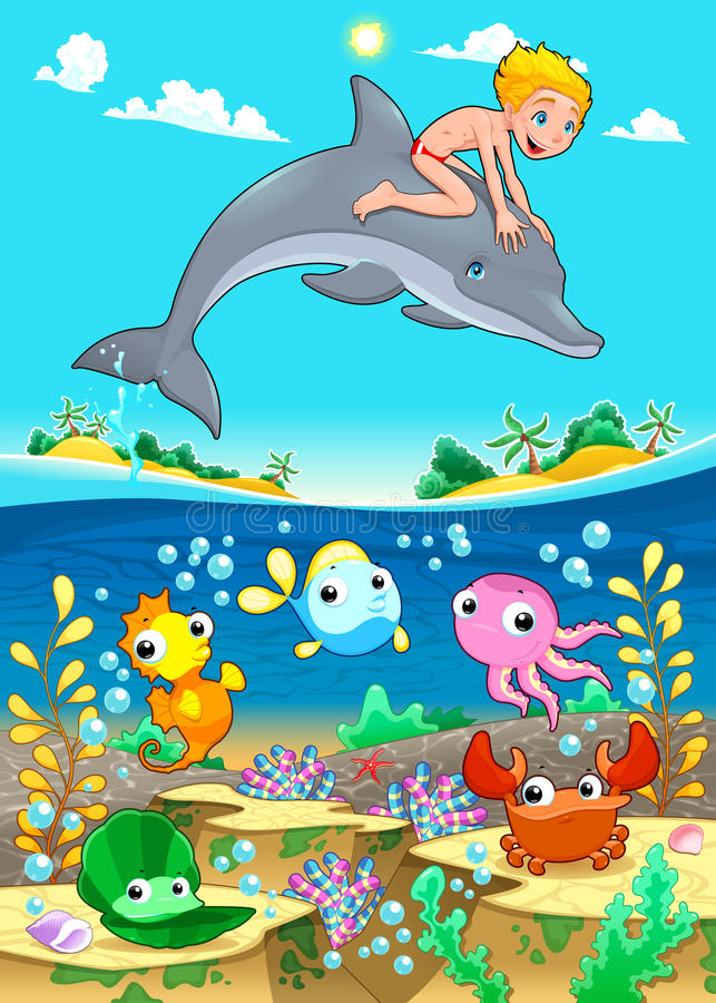 Chłopiec i delfin z rybim unde morze. ilustracji