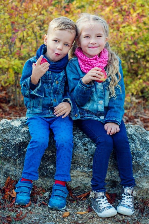 Chłopiec i dziecka dziewczyny łasowania jabłka obrazy stock