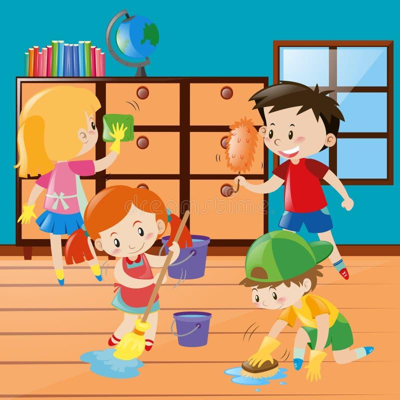 Chłopiec i dziewczyn cleaning pokój wpólnie ilustracji