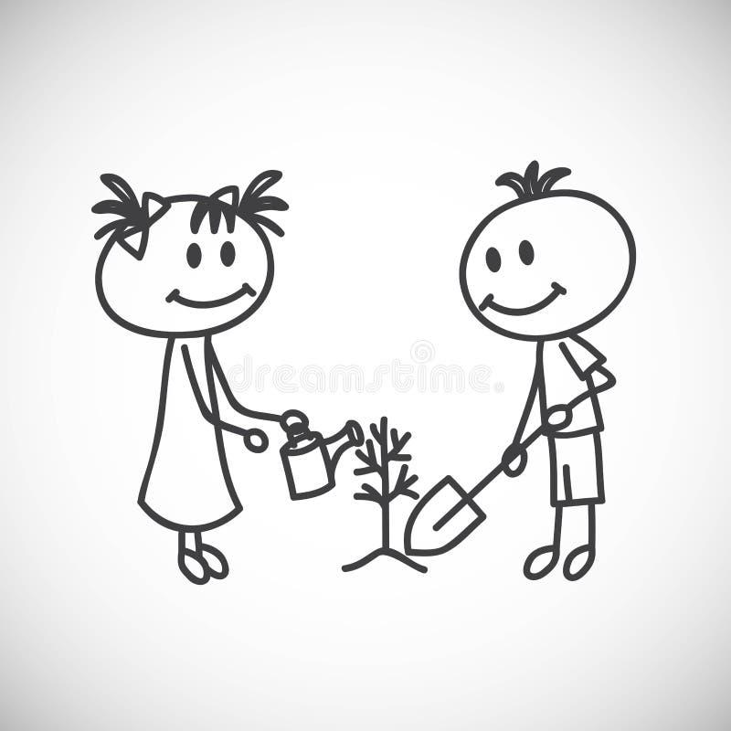 Chłopiec i dziewczyna royalty ilustracja