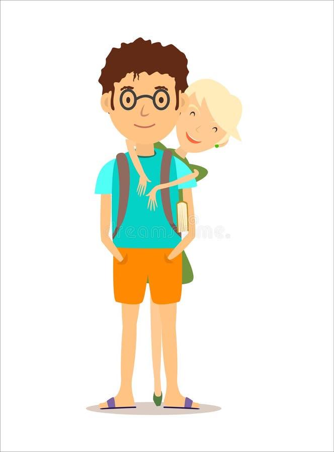 Chłopiec i dziewczyna ilustracja wektor