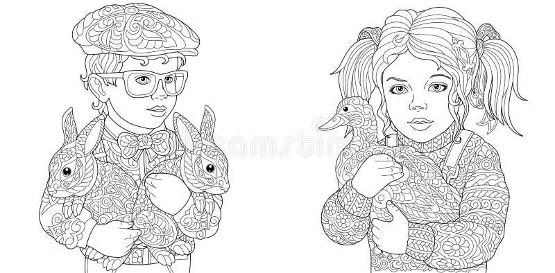 Chłopiec i dziewczyna Barwić strony Kolorystyki książka dla dorosłych Koloryt obrazki z dzieciakami i zwierzętami gospodarskimi r ilustracja wektor