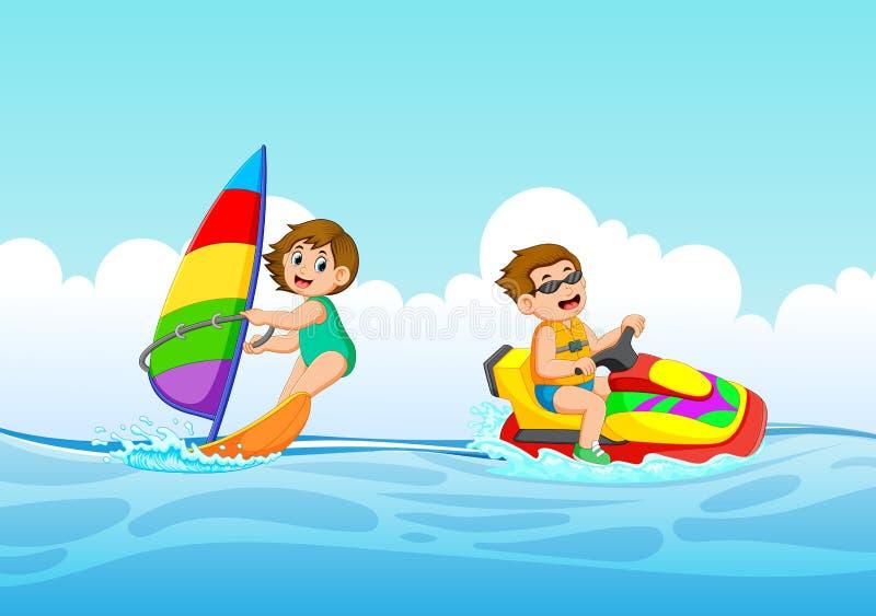 chłopiec i dziewczyna bawić się z dżetową żeglowanie łodzią i nartą royalty ilustracja