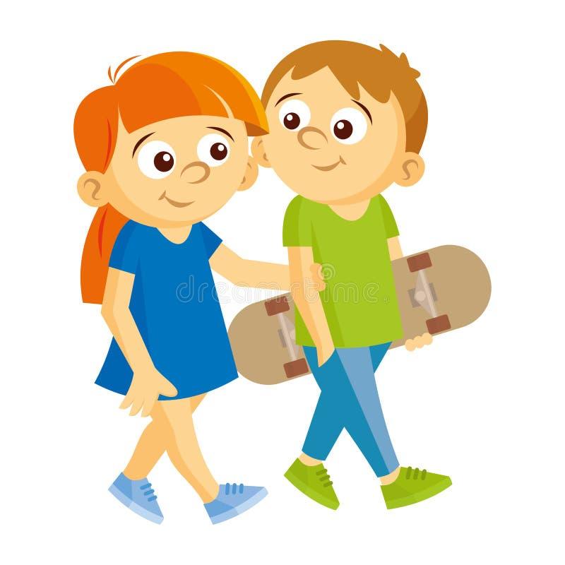 Chłopiec i dziewczyna chodzimy ilustracja wektor