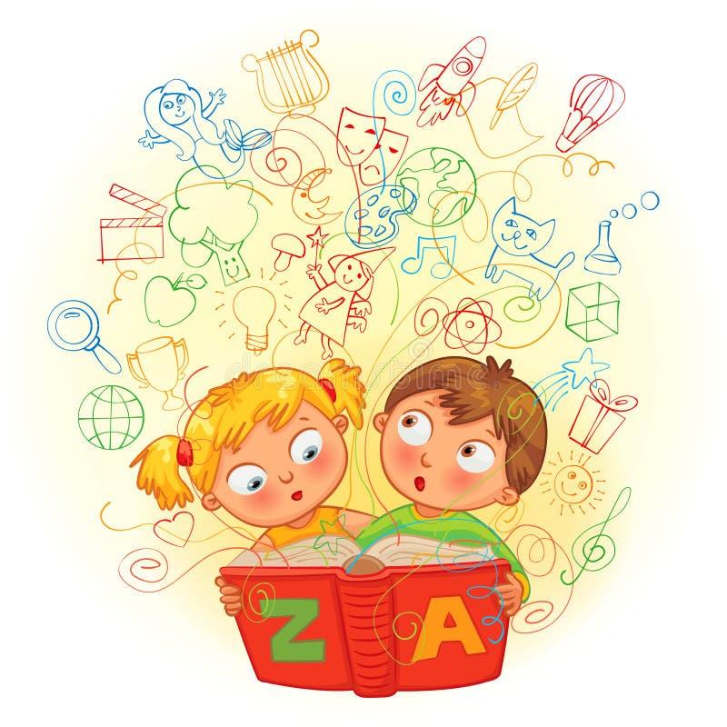 Chłopiec i dziewczyna czyta magiczną książkę ilustracja wektor