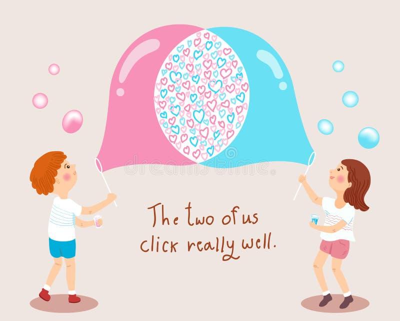 Chłopiec i dziewczyna dmucha mydlanych bąble kochamy pojęcie ilustrację royalty ilustracja
