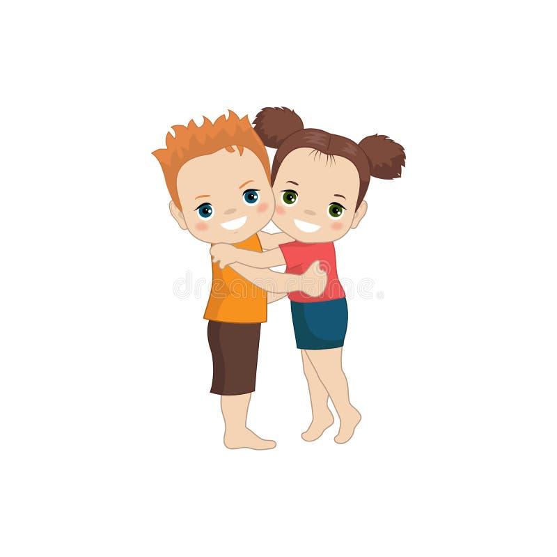 Chłopiec i dziewczyna huging royalty ilustracja