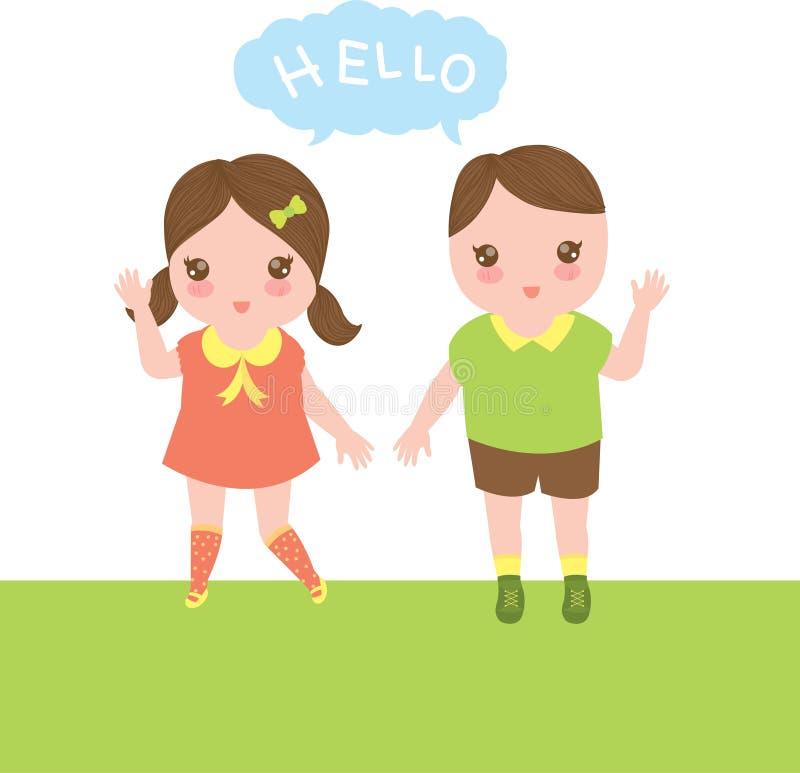 Chłopiec i dziewczyna mówimy cześć royalty ilustracja