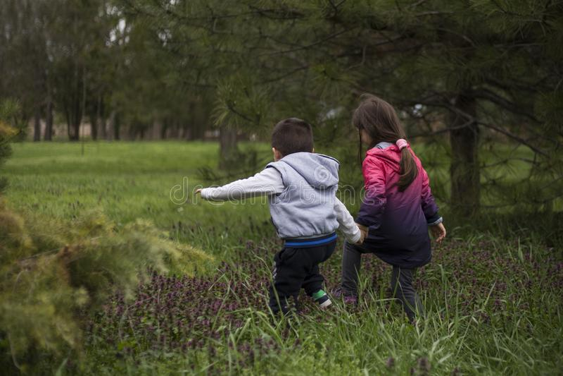 Chłopiec i dziewczyna ma zabawę, rekonesansowa natura obraz stock
