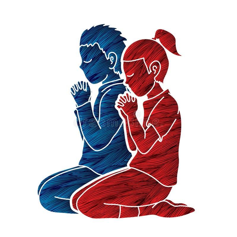 Chłopiec i dziewczyna my modlimy się wpólnie, modlitwa, Chrześcijańscy modleń dzieci my modlimy się z bóg ilustracji