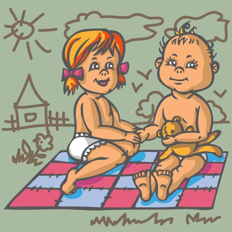 Chłopiec i dziewczyna na macie royalty ilustracja