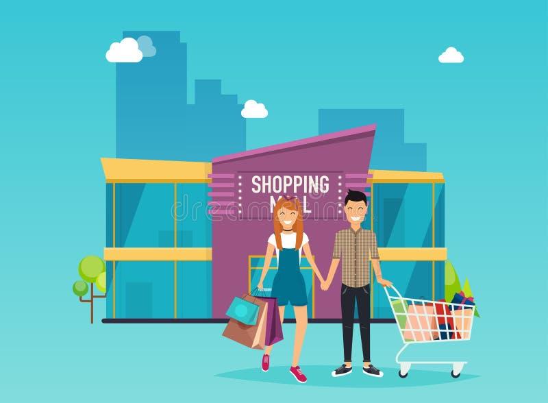 Chłopiec i dziewczyna robimy zakupy Zakupy centrum handlowego budynku powierzchowność mieszkanie ilustracja wektor