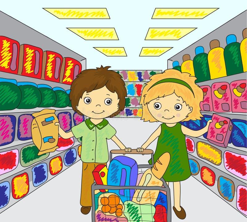 Chłopiec i dziewczyna robimy zakupy w sklepie ilustracja wektor