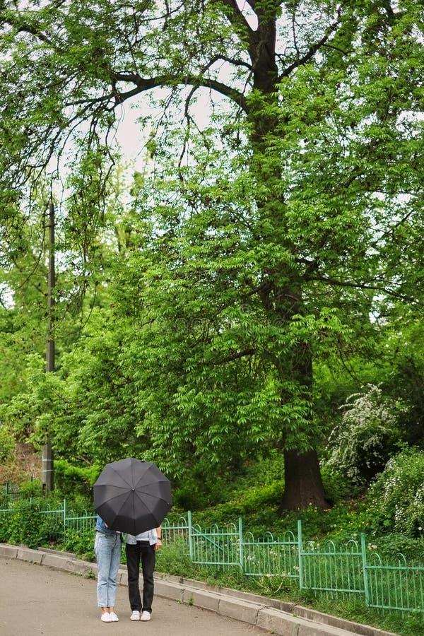 chłopiec i dziewczyna stoimy pod czarnym parasolem w parku z zielonymi drzewami fotografia stock