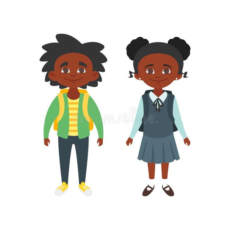 Chłopiec i dziewczyna w mundurku szkolnym royalty ilustracja
