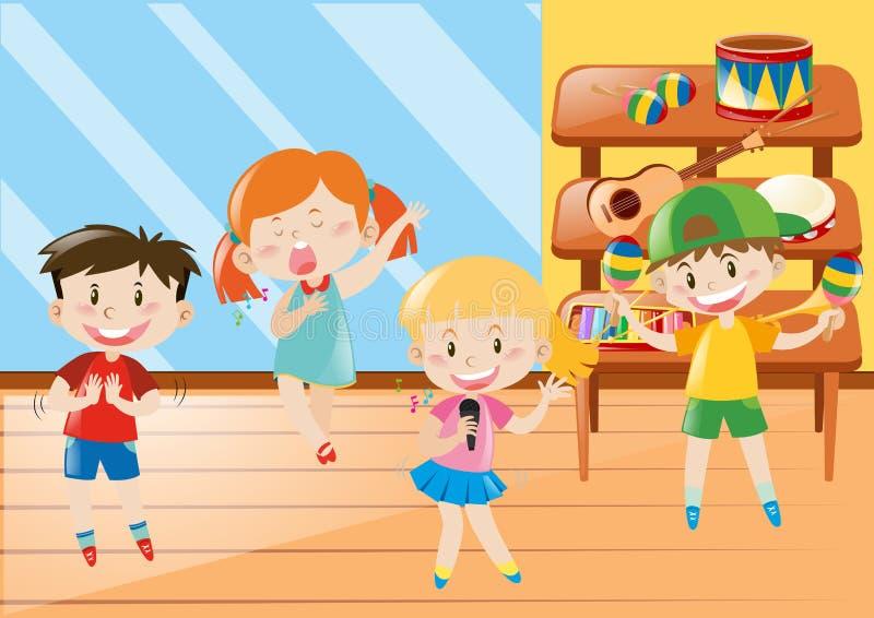 Chłopiec i dziewczyna w muzycznej klasie ilustracja wektor