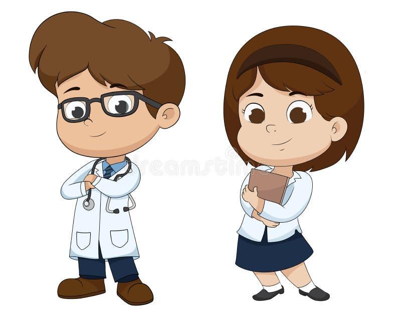 Chłopiec i dziewczyna w zawodu ` s kostiumu lekarka royalty ilustracja