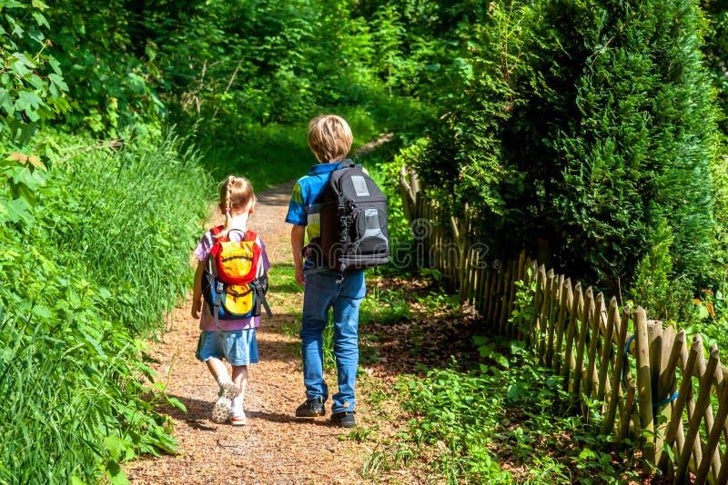Chłopiec i dziewczyna wycieczkuje w naturze zdjęcie stock