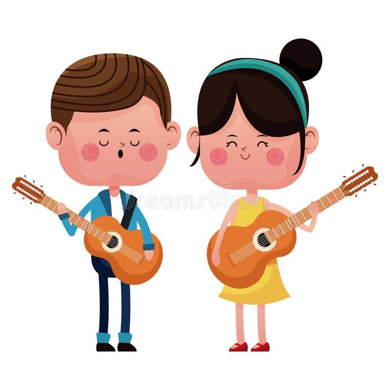 Chłopiec i dziewczyna z gitarami śpiewa szczęśliwej miłości ilustracja wektor