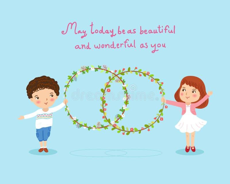 Chłopiec i dziewczyna z kwiatu wianku śliczną karcianą ilustracją ilustracja wektor