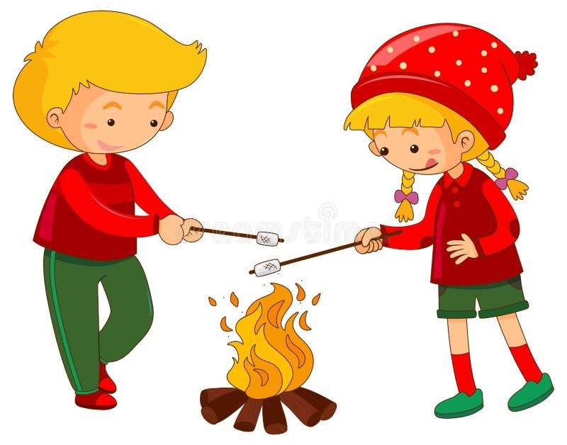Chłopiec i dziewczyna z marshmallow ilustracji