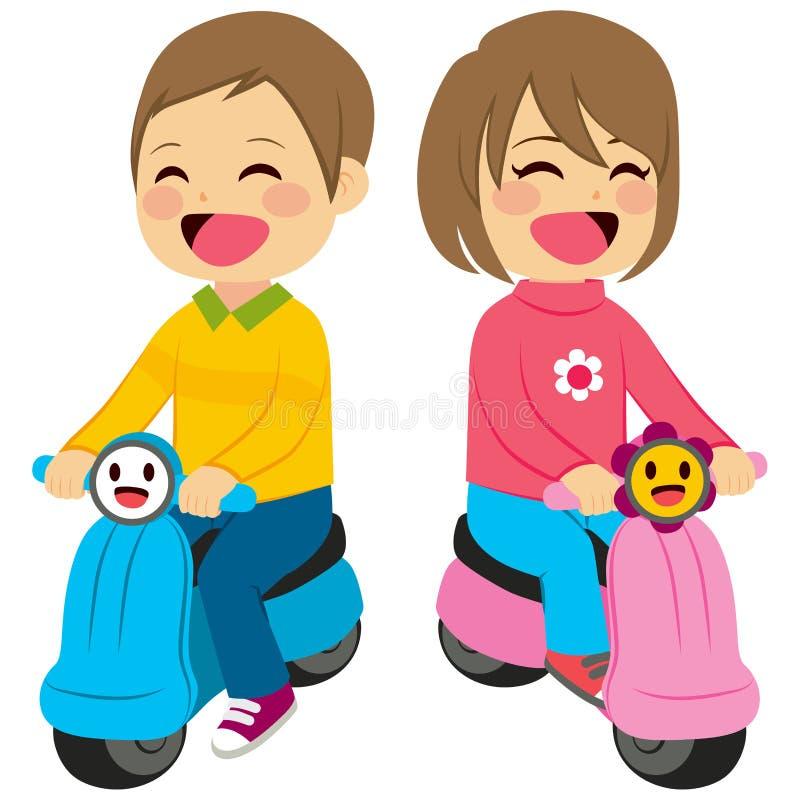 Chłopiec I dziewczyna Z motocyklem royalty ilustracja