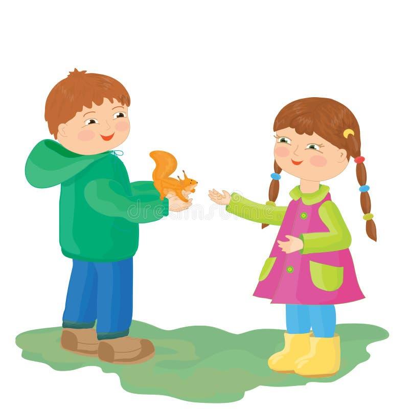 Chłopiec i dziewczyna zakładamy wiewiórki ilustracja ilustracji