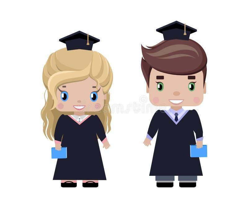 Chłopiec i dziewczyny absolwenci royalty ilustracja