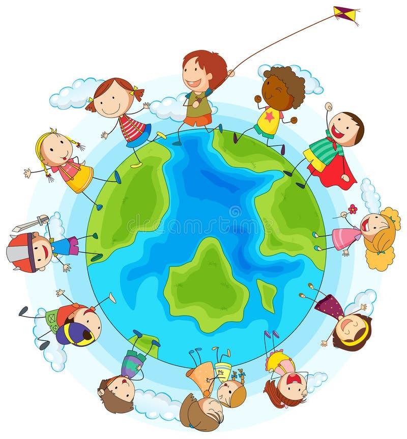 Chłopiec i dziewczyny bawić się dookoła świata ilustracji