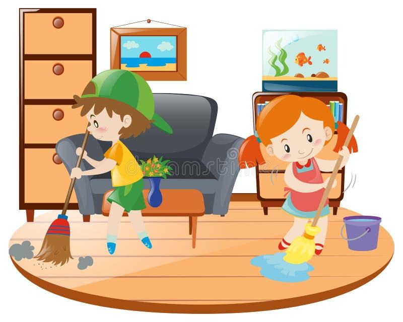 Chłopiec i dziewczyny cleaning żywy pokój ilustracji