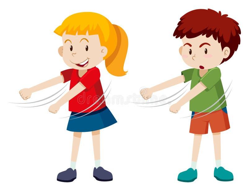 Chłopiec i dziewczyny floss taniec royalty ilustracja