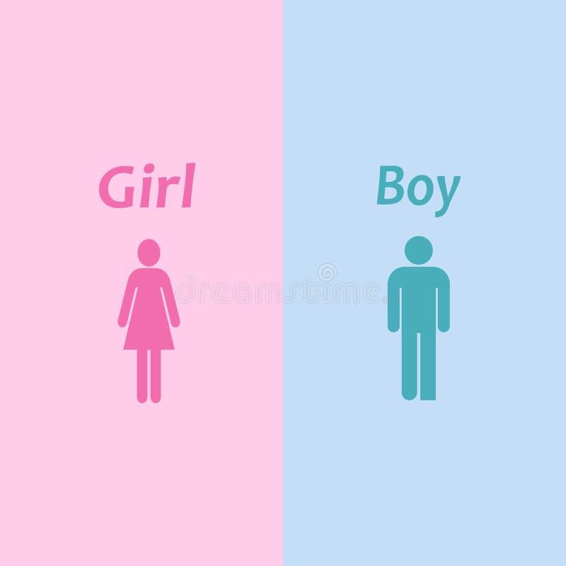 Chłopiec i dziewczyny ikona Sylwetka mężczyzna kobieta również zwrócić corel ilustracji wektora 10 eps ilustracji