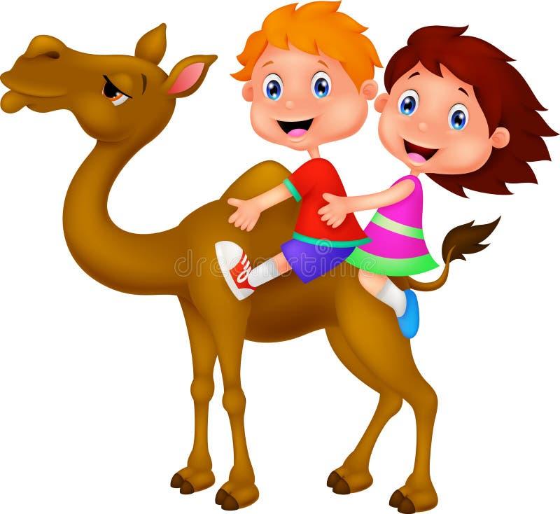 Chłopiec i dziewczyny jeździecki wielbłąd ilustracji