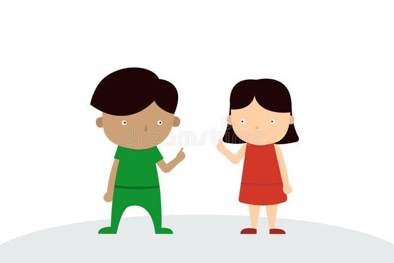 Chłopiec i dziewczyny Jednolity charakter ilustracja wektor
