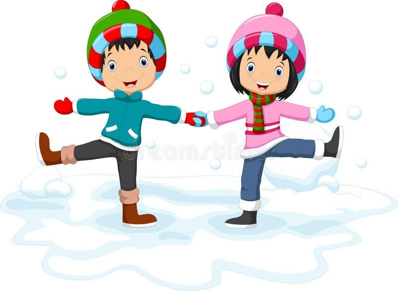 Chłopiec i dziewczyny ma zabawę w zimie ilustracja wektor