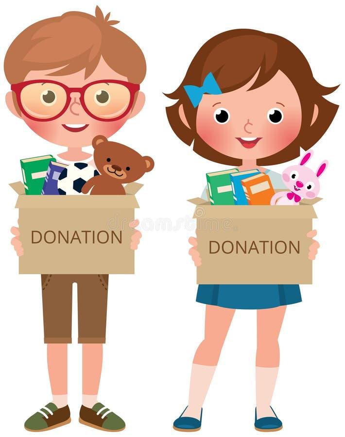 Chłopiec i dziewczyny mienia pudełka darują wypełniają z zabawkami i książkami ilustracji