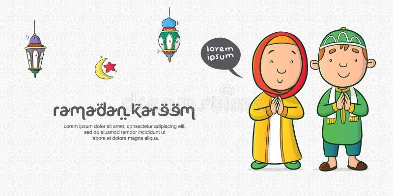Chłopiec i dziewczyny muzułmański charakter ilustracji