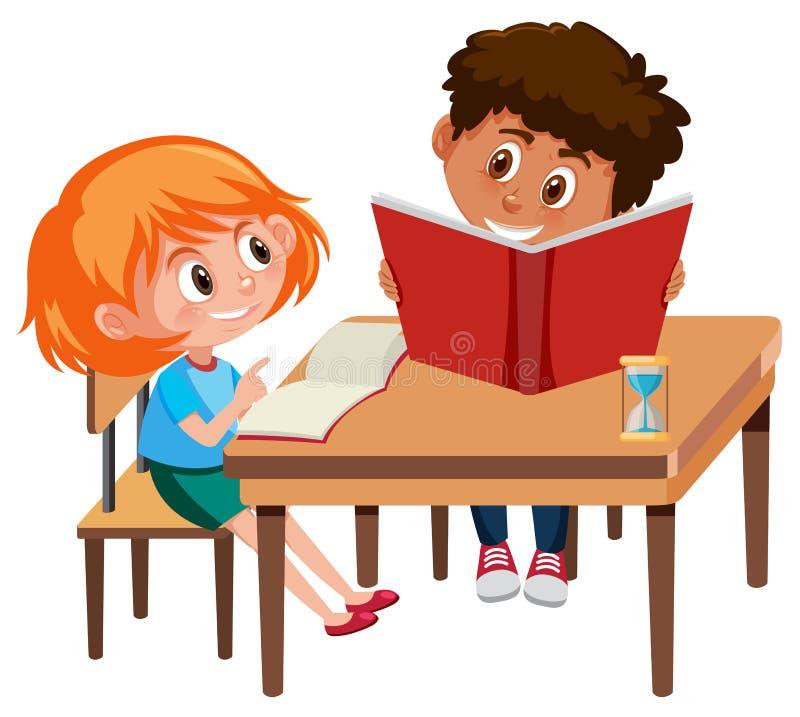 Chłopiec i dziewczyny nauka ilustracja wektor