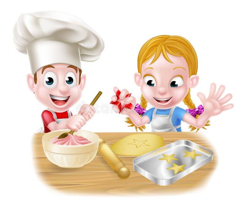Chłopiec i dziewczyny pieczenie ilustracja wektor