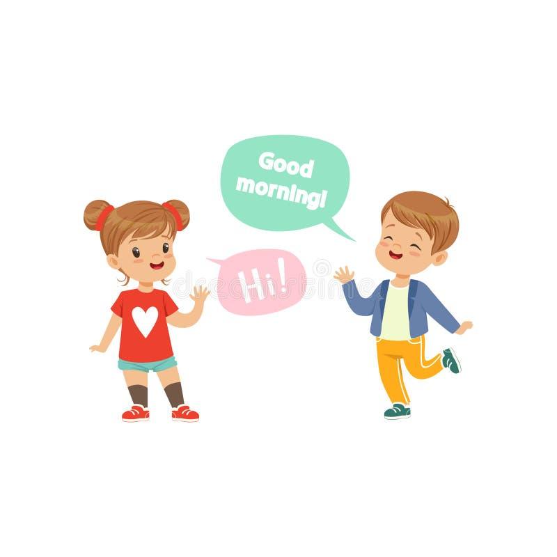 Chłopiec i dziewczyny powitanie each inny, dzieciaków dobre manier pojęcia wektorowa ilustracja na białym tle royalty ilustracja