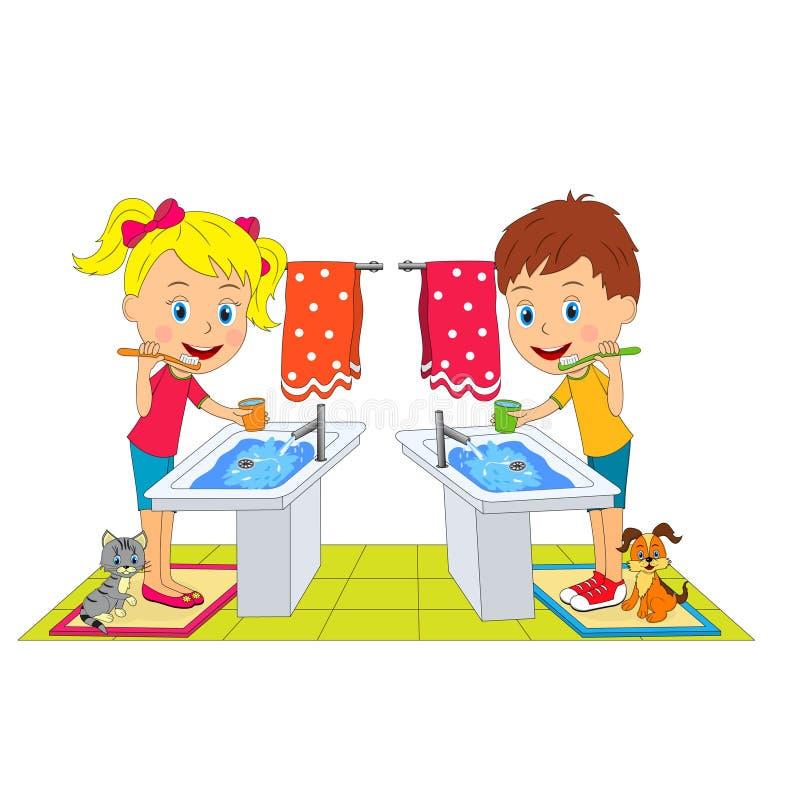Chłopiec i dziewczyny szczotkarscy zęby ilustracja wektor