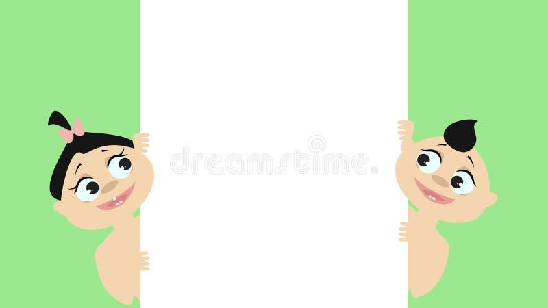 Chłopiec i dziewczyny zerknięcie od strony Patrzeje plakat wektor royalty ilustracja