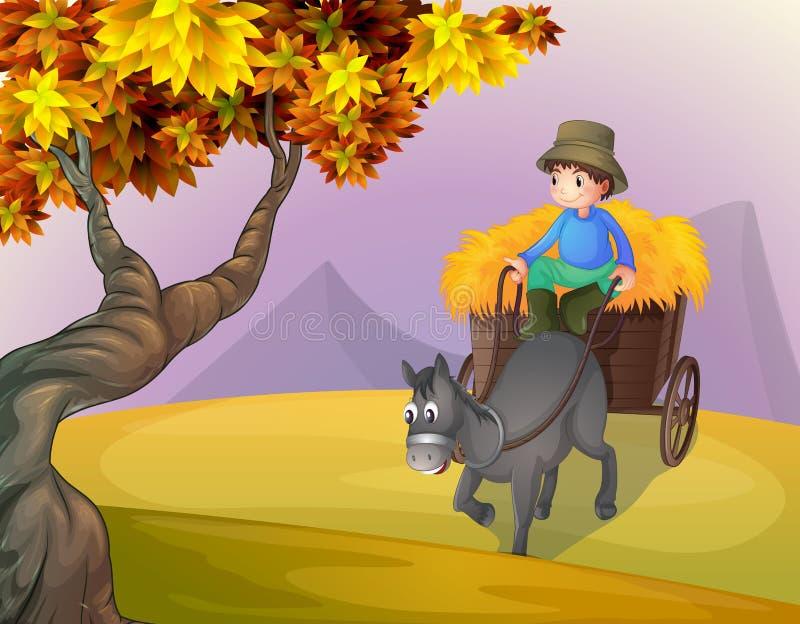 Chłopiec i koński powozik royalty ilustracja